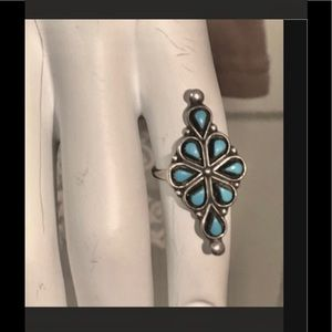 STERLING SILVER PETITE POINT TURQUOISE RING